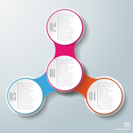 iterative: Infographic design with colored and white circles on the grey background.
