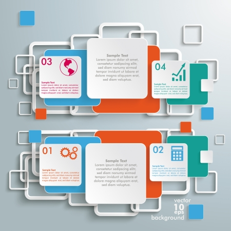 quadrat: Infographic with colored squares on the grey background.  Illustration