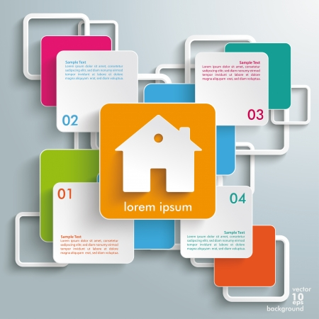 letting: Infographic design with colorful rectangle squares on the grey background.