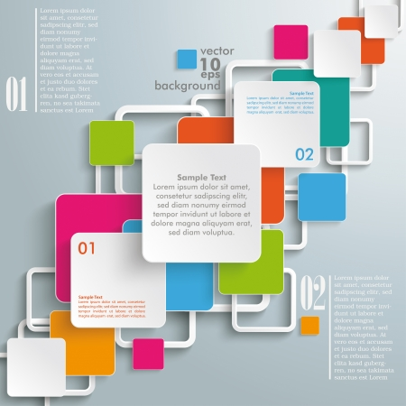 quadrat: Infographic design with colorful rectangle squares on the grey background.