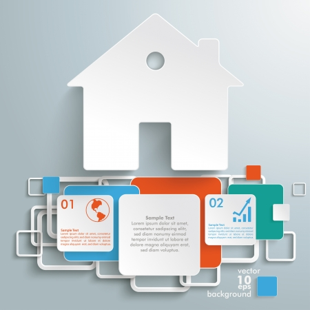 broker: Infographic with white house and colored squares on the grey background.
