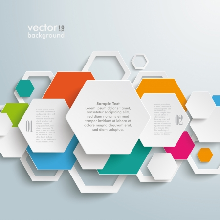 comb out: Infographic design with hexagons on the grey background.