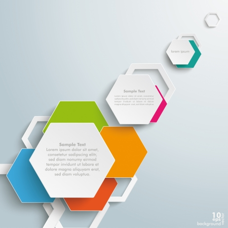Infographic design with hexagons on the grey background. Vector