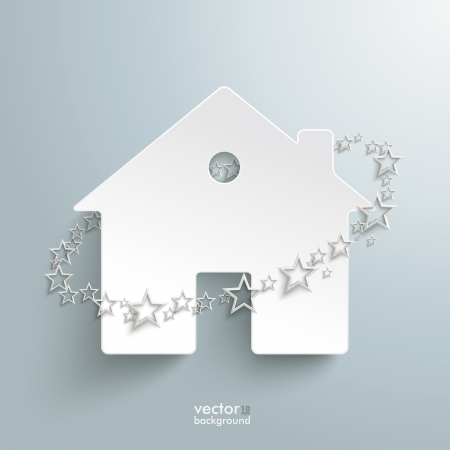 letting: Infographic with white home and stars on the grey background.  Illustration