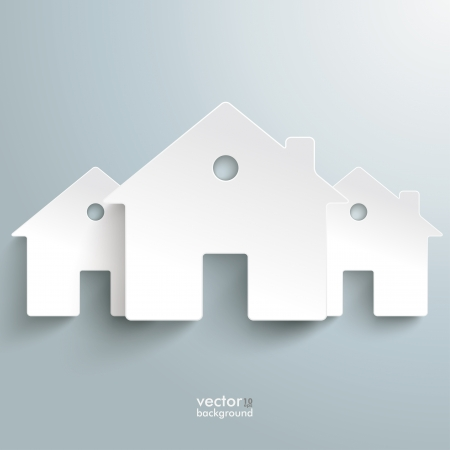 Infographic with white houses on the grey background.  Vector