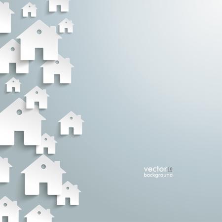 Infografía con casas blancas en el fondo gris. Ilustración de vector