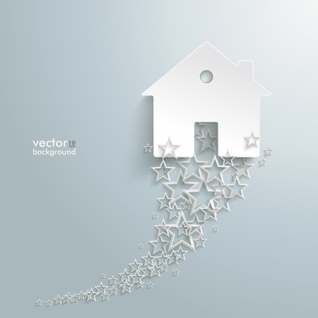 letting: White stars  with white house on the grey background. Eps 10 vector file.