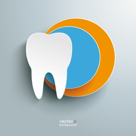 Infographic with white tooth on the grey background.  Vector