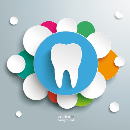 dent: Infographic with white tooth on the grey background.