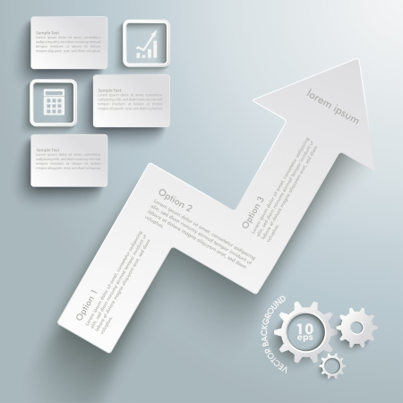Infographic with arrow and gears on the grey background. Eps 10 vector file.