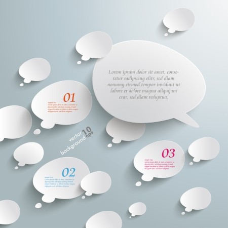 opposing views: Infographic with bevel speech bubbles on the grey background. Eps 10 vector file.