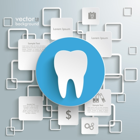 filling folder: Tooth with rectangles on the grey background. Eps 10 vector file.