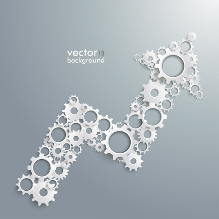 arrow vector: Infographic with arrow and gears on the grey background. Eps 10 vector file.