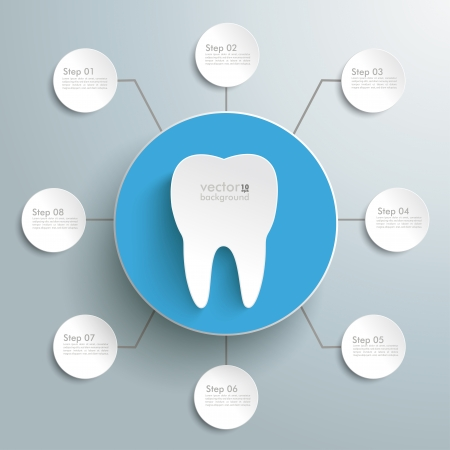 White tooth with blue circle on the grey background. Eps 10 vector file.