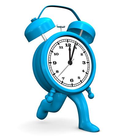 runs: Blue alarmer runs on the white background.