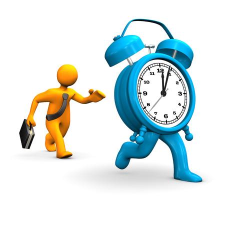 delay: Orange cartoon character runs with big blue alarmer.