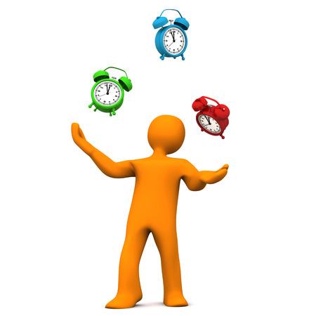 jugglery: Orange cartoon character juggles with alarmer