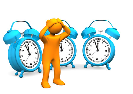 delay: Orange cartoon character with blue alarmer. White background.