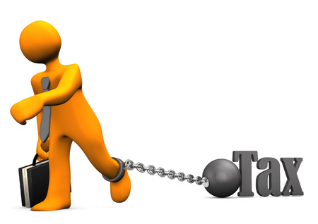 taxman: Orange businessman chained with iron ball and the text Tax.