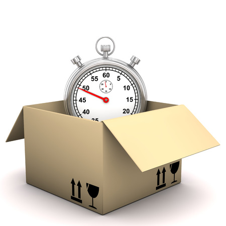 forwarder: Stopwatch in the shipping box on the white background. Stock Photo