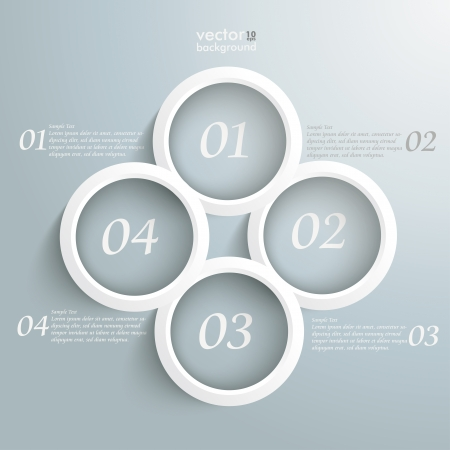 White four white rings on the grey background. Stock Vector - 22389834