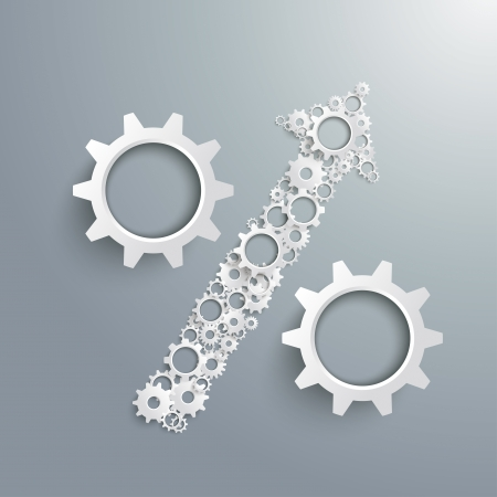 volume discount: Infographic with arrow and gears on the grey background.