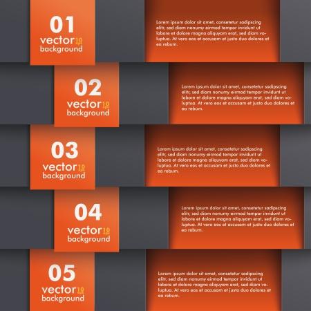 five objects: Modello di progettazione con i colori nero e arancio. Vettoriali