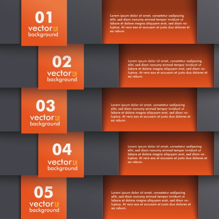 five elements: Template design with black and orange colors.