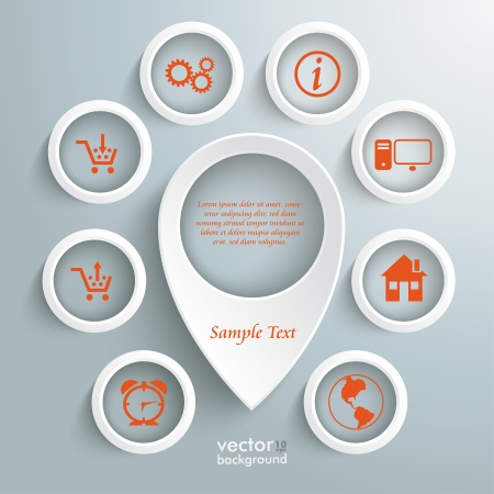 Infographic with white location marker on the grey background.   Vector