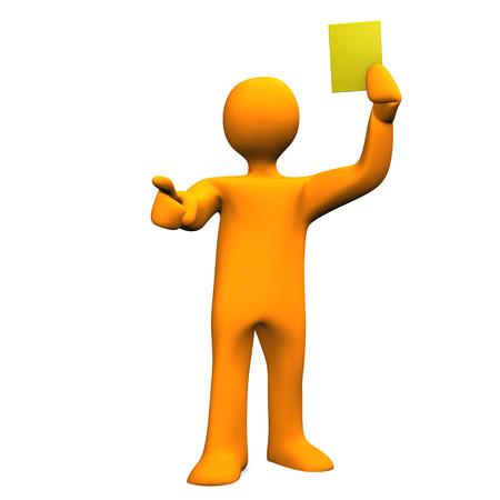 Orange cartoon character with yellow card on the white background. Zdjęcie Seryjne