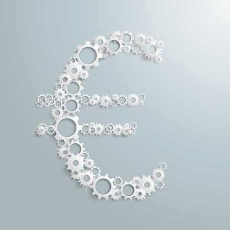 White gears as a eurosymbol the grey background. Eps 10 vector file. Vector