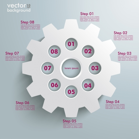 White gear with on the grey background. Eps 10 vector file. Vector
