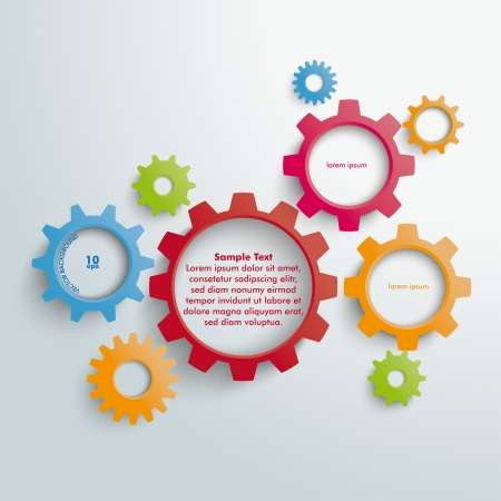 Colored gears on the grey background. Eps 10 vector file. Vector