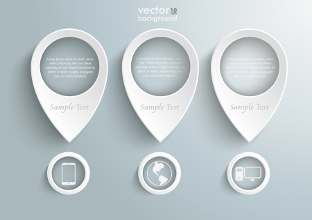 Three white location markers on the grey background. Eps 10 vector file. Vector