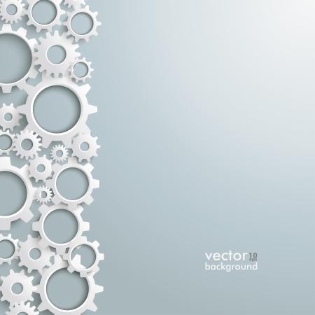 Engranajes blancos sobre el fondo gris. Eps 10 archivo vectorial.