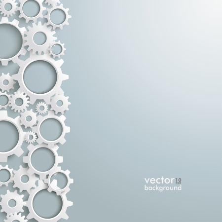 industries: White gears on the grey background. Eps 10 vector file.