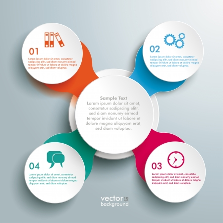 Infographic design with colored and white circles on the grey background. Eps 10 vector file. Иллюстрация