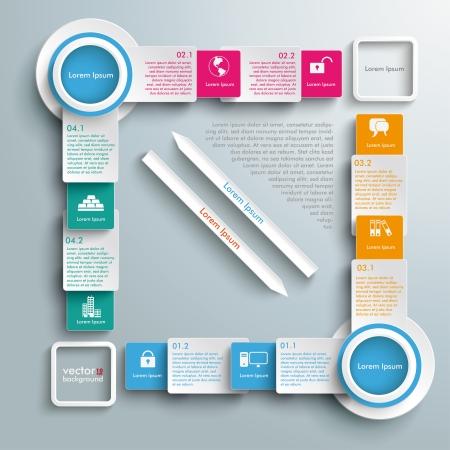 diagrama de flujo: Diseño Infografía sobre el fondo gris.