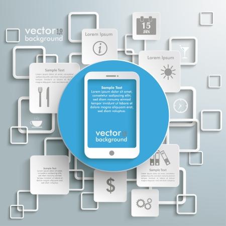 expenses: Smartphone con rect�ngulos en el fondo gris. Vectores