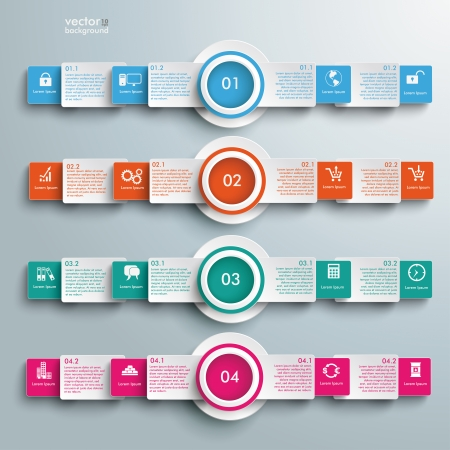 Infographic design white circles on the grey background.  Illustration