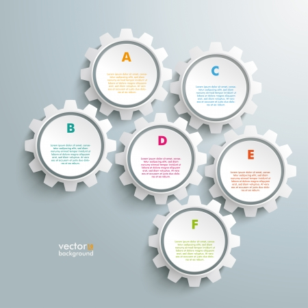 six objects: Infographic design white gears on the grey background.