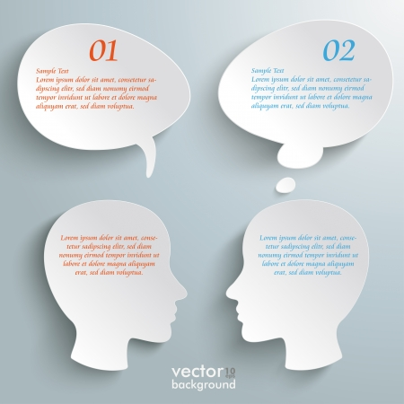thinking bubble: Infographic with white heads on the grey background.  Illustration