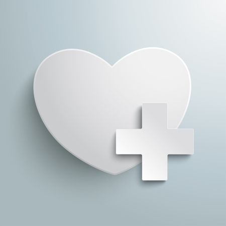 White heart with plus symbol on the grey background. Eps 10 vector file. Vector