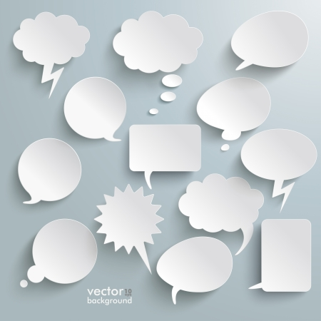Conception infographique avec des bulles de communication blancs sur le fond gris. Eps 10 vecteur.