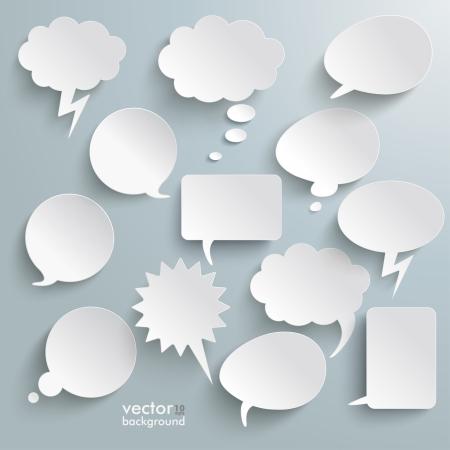 the speaker: Dise�o Infograf�a con burbujas de comunicaci�n blancas en el fondo gris. Archivo EPS 10 vector.