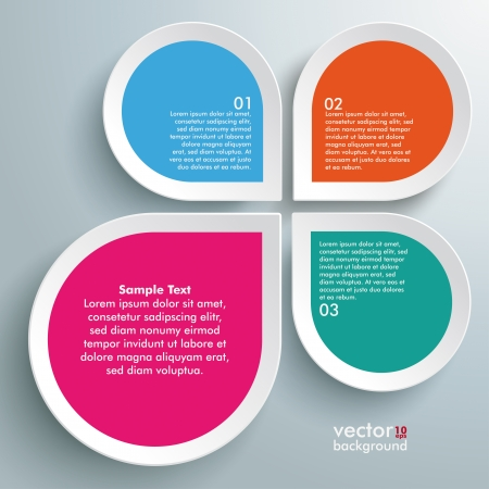 four objects: Infographic design white circles on the grey background. Eps 10 vector file. Illustration