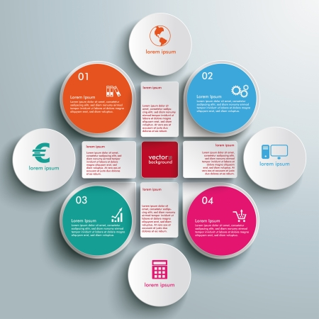 Infographic design white circles on the grey background. Eps 10 vector file. Vector Illustration