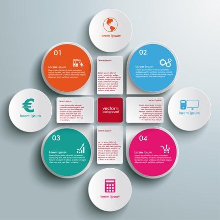 Progettazione Infographic cerchi bianchi su sfondo grigio. Eps 10 file vettoriale. Vettoriali