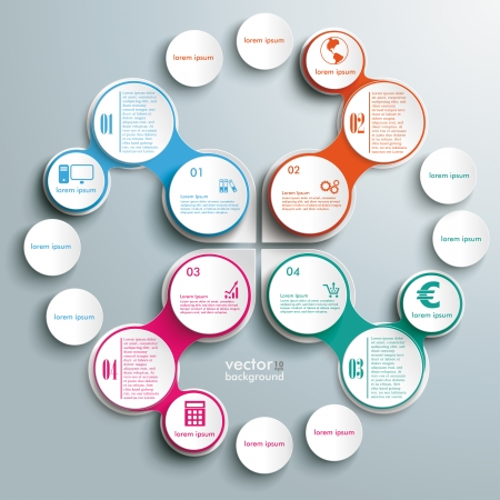 Infographic design white circles on the grey background. Eps 10 vector file. Vector