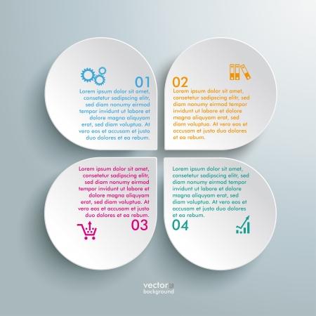 Infographic design witte cirkels op de grijze achtergrond. EPS-10 vector bestand.